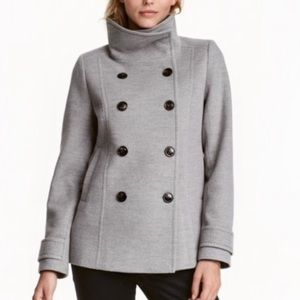 H&M   Double Breasted Gray Peacoat Size 6